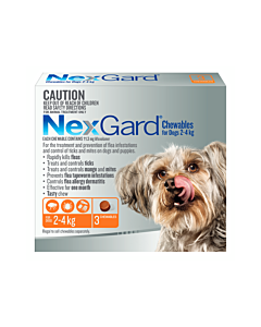 NexGard Chewables Dog Extra Small 2-4kg Orange