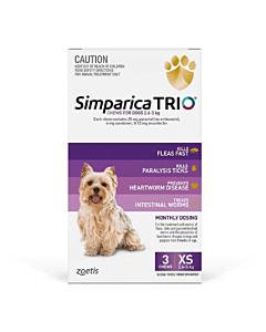 Simparica Trio Dog Extra Small 2.6 - 5kg Purple 3 Chews