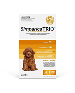 Simparica Trio Dog Puppies 1.25 - 2.5kg Yellow 3 Chews