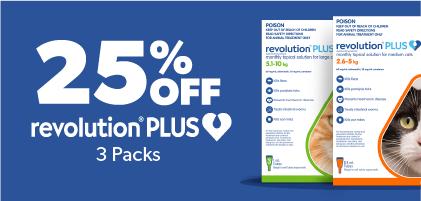25% Off Revolution Plus 3 packs